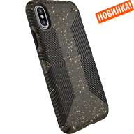 Чехол Speck Presidio Grip + Glitter для iPhone X/XS Obsidian Black with Gold Glitter/Black